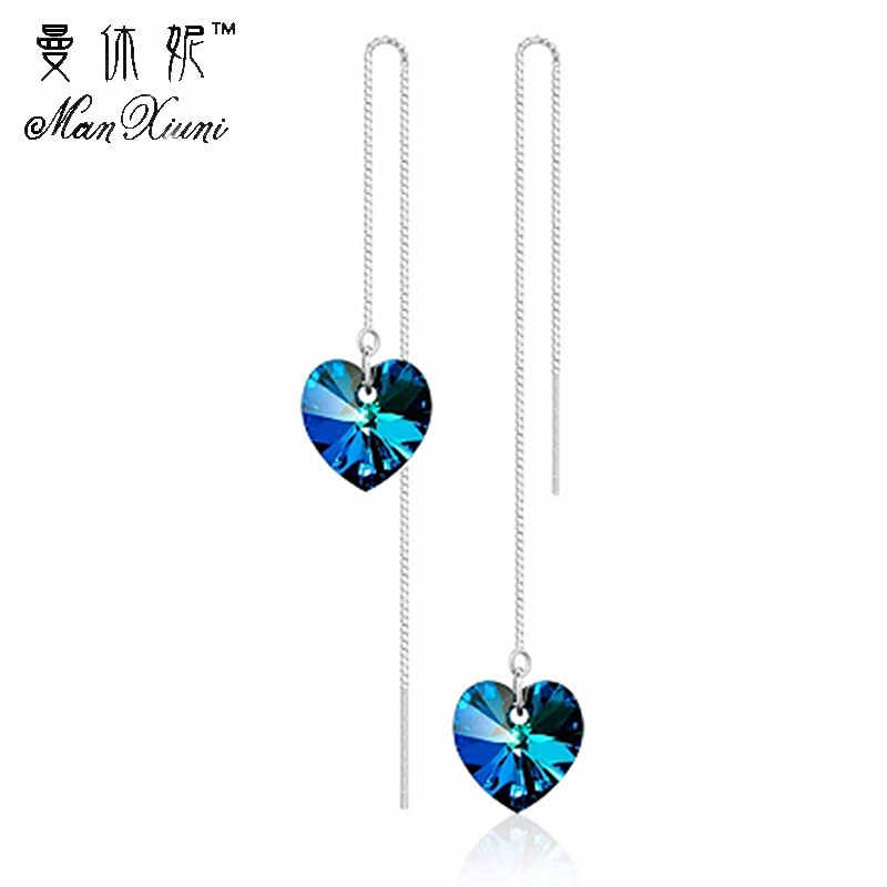 5 Color 2018 Hot Sale Korean Style Crystal Silver Drop Earrings Fashion Heart Earrings for Women Top Qualtity Fine Jewelry