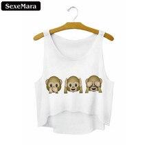 SexeMara 2018 Summer Emoji Monkey Printed Casual Crop Tops Women Irregular Length Tank Top Kawaii Girls Short Vest Top F740