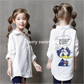 Autumn new cartoon shirt boys and girls, long letter part of fashionable children's shirt
