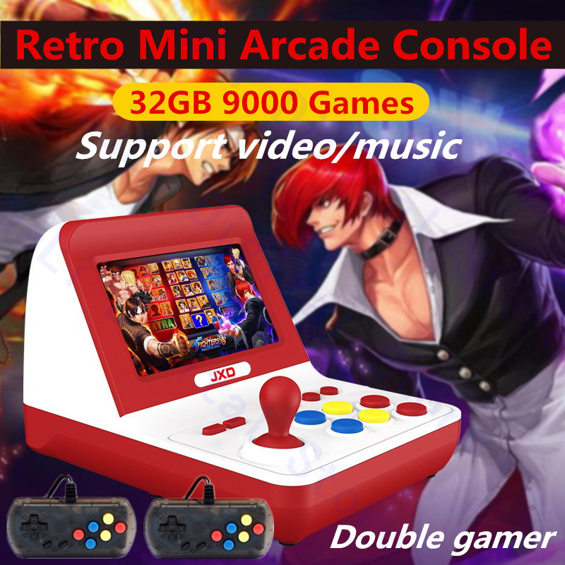 JXD new 4.3 inch retro mini arcade console 32GB Built-in 9000 game for cp1/cp2/neogeo/gba/gb/snes/nes/sega/bin free handle*2 mp4(China)