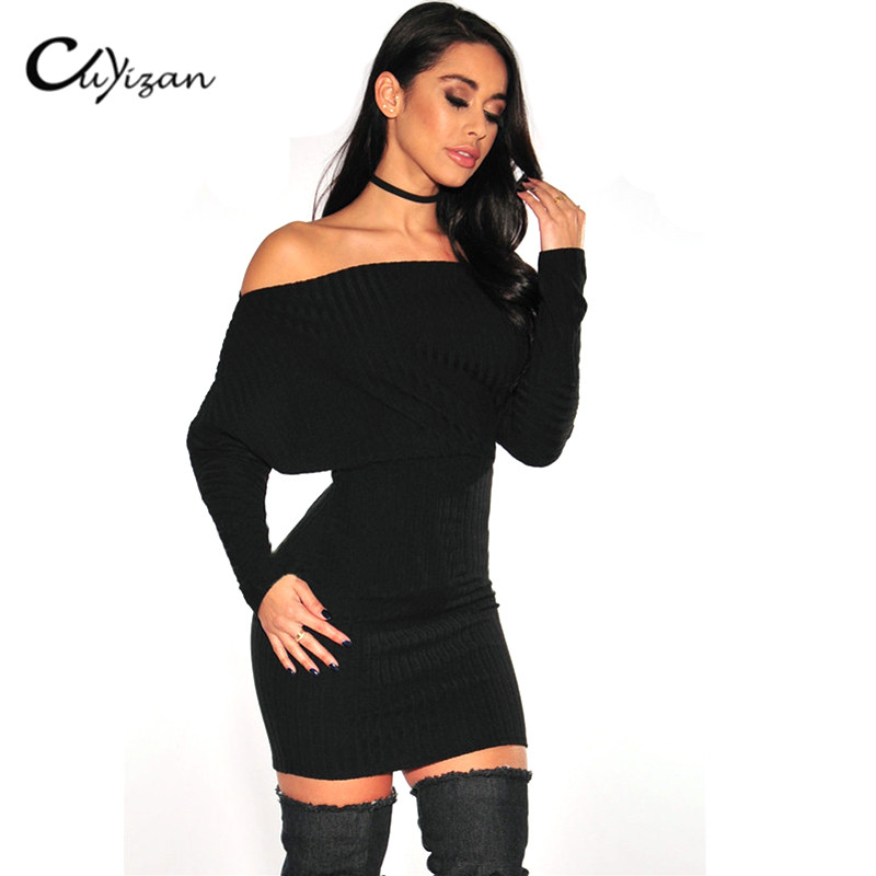 CUYIZAN Strapless Off Shoulder Bodycon Dress Autumn Winter Slash Neck Sexy Women Long Sleeve Knitted slim mini Sweater Dress