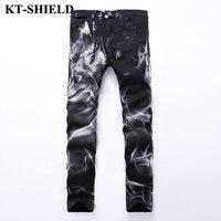 Hot Sale Fashion Hip Hop Jeans Men Black Wolf Head Designer Print Denim Men's Fashion Pants Mannen Vaqueros Elastic Casual Jeans