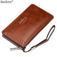 Baellerry Vintage Mens Clutches Wallet Male Leather Luxury Brand Holder For Phone Purse Men Money Bag Zipper Wallet
