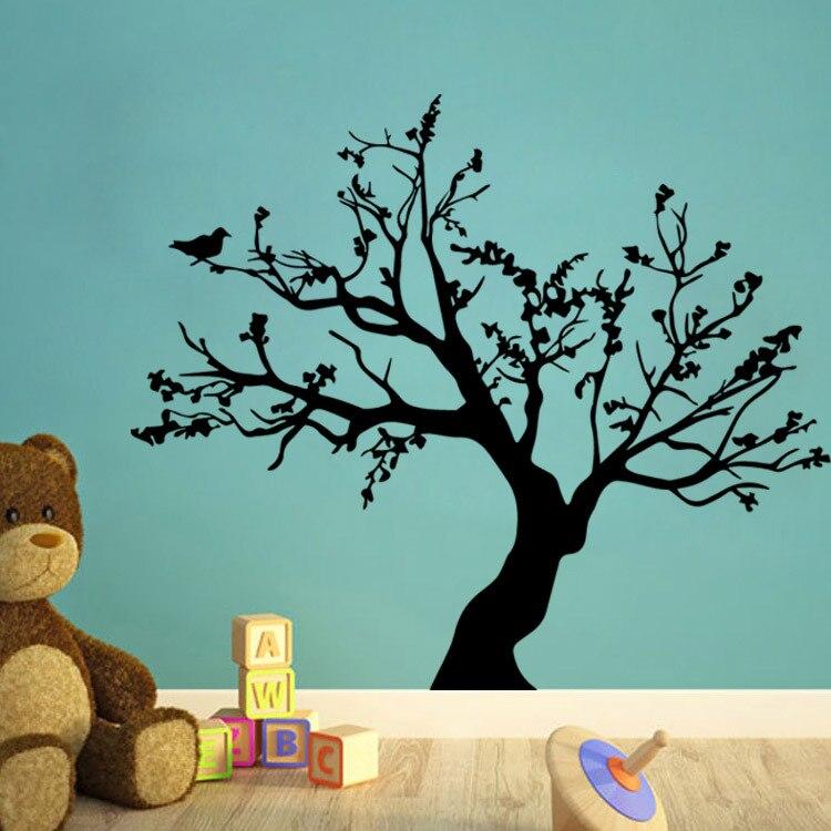 Livraison gratuite vinyle autocollant oiseaux grand arbre salon noir bricolage art amovible stickers muraux papier peint