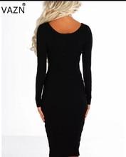 VAZN New Arrive Best Quality 2018 Casual Dress Full Sleeve Midi Dress Black Sexy Bandage Dress AM239