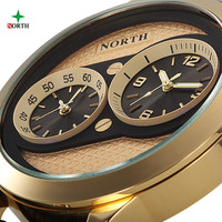 NORTH Double Movement Men Sport Watches Mens Watches Top Brand Luxury Watch Clock Leather Quartz Military