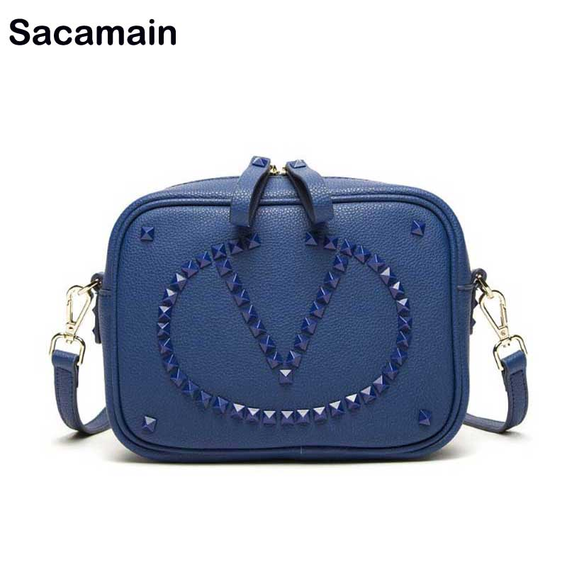 Woman Bag 2018 Hot Rivet Genuine Leather Bags Women Real Leather Cow Leather Small Crossbody Camera Style Bag Sac a main Femme kzni genuine leather bags for women leather handbags summer woman bag 2017 small handbag women famous brands sac femme 1412