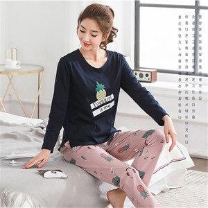 Image 4 - Pyjamas Women 2020 Autumn Long sleeve Cotton Home clothes Women night suit Two Piece plus size Sleepwear Ladies Pajamas Set 5XL