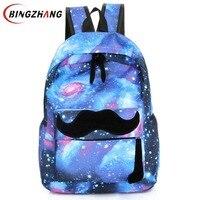 Galaxy Stars Universe Space Printing Canvas Backpack School Bag Women Mustache Backpacks Bag Mochila Free Shipping