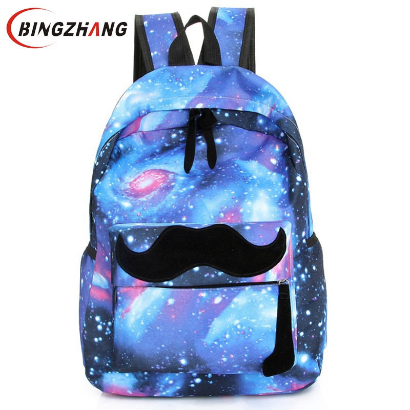 Galaxy Stars Universe Space printing canvas backpack School bag Women mustache Backpacks bag mochila free shipping L4-90 fashion unisex stars universe space printing backpack school book backpacks british flag shoulder bag night sky backpacks h308