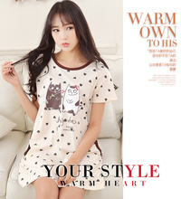 2017 new pajamas summer cotton sleeves women's summer cotton cute cartoon skirt female models home service