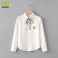 GOPLUS Floral Embroidery Shirts Pocket Ties Turn Down Collar Long Sleeves Girl Back To School Spring