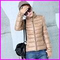 2016 Новый Модельер Дамы Короткие Зимние Пальто Женщин Бренд 90% Белая Утка Вниз Пальто Куртки Плюс Размер XXXL