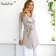 Nadafair new fashion women autumn winter wool coat female long sleeve sash blends long coat women warm elegant slim solid coat