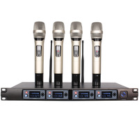 Wireless Handheld Microphone Karaoke system Professional 4 Channel Dynamic Microphone uhf wireless system For school meeting