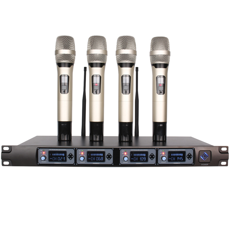 Wireless Handheld Microphone Karaoke system Professional 4 Channel Dynamic uhf wireless For school meeting