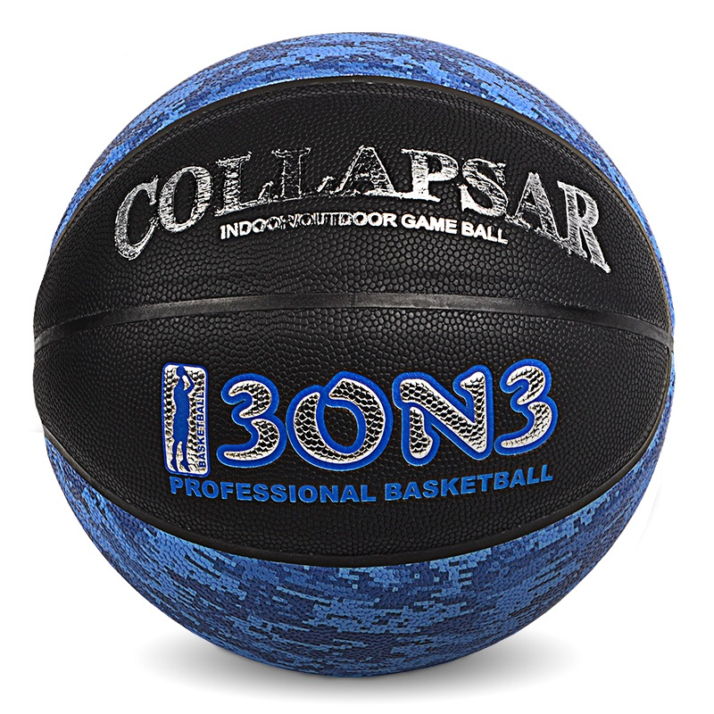 ФОТО PU Black Blue Double Color Basketball Hot Silver Leather Basketball Indoor and Outdoor Wear Leather 7 and  5