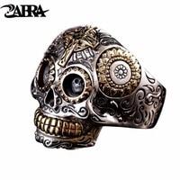 ZABRA Luxury Solid 925 Sterling Silver Skull Ring Men Vintage Punk Rock Cross Gold Big Heavy