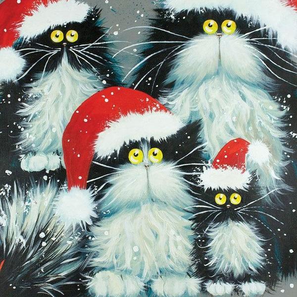 DIY diamond painting cartoon cat family round rhinestone pasting decorative painting diamond embroidery mosaic needlework