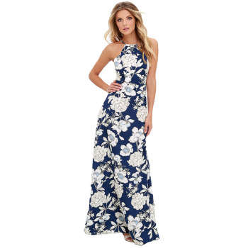 2017 Summer Women Maxi Long Dress Halter Neck Floral Print Sleeveless Boho Dress Holiday Slip Beach Sexy Dress Vestidos Blue Платье