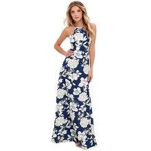 26cf400599bab5 2019 lato Maxi długa sukienka kobiety Halter szyi w stylu Vintage kwiatowy  Print sukienka bez rękawów Boho 5XL Plus rozmiar Sexy.