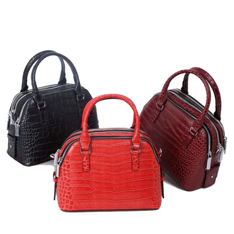 ФОТО 2017 Fashion new Women genuine Leather Handbags ladies messenger bag small Alligator print crossbody Brand designer totes bolsos