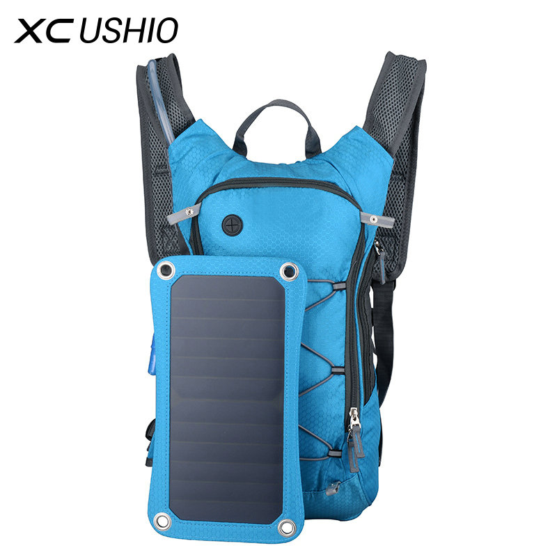 Sport Cycling Water Bag Outdoor Solar Panel USB Charger Bicycle Hydration Backpack for Moible Phone Camping Travel Knapsack