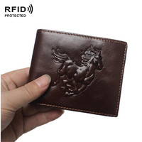 Rifd محفظة 3d تنقش الحصان الطوطم الرجال محافظ جلد طبيعي antimagnetic 18dollar السعر الفاخرة خمر الذكور محفظة