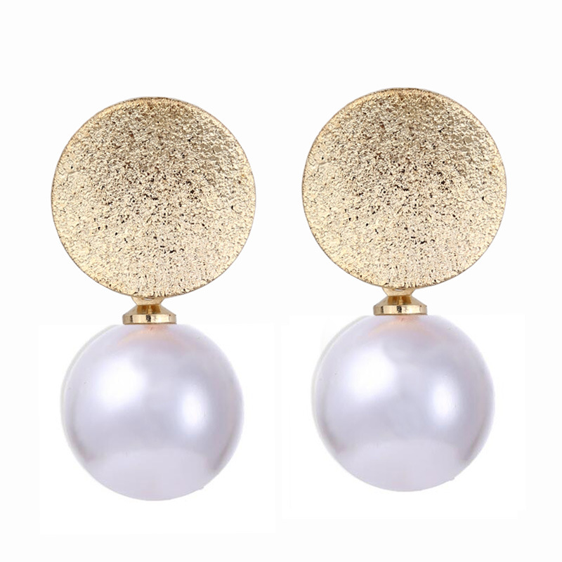 Seblasy High Quality Pearl Dangles Earrings For Women Gold Color Sequin Short Pendants Earrings Jewelry Bride Gift