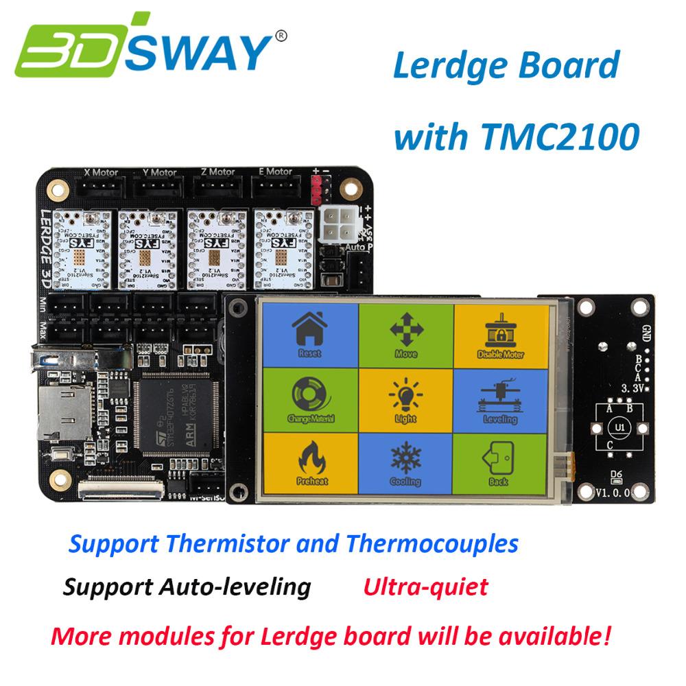 """Prix pour 3 DSWAY 3D Imprimante Pièces Facile à Utiliser 3D Imprimante Lerdge Conseil avec Thermistance et Thermocouples 4 pcs TMC2100 3.5 """"Écran tactile"""