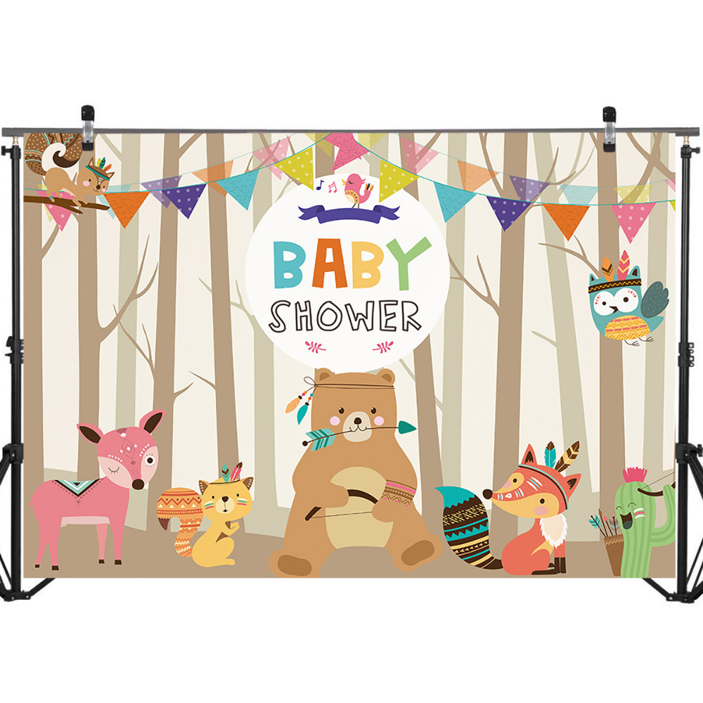 Mehofoto Woodland Baby Shower Backdrop Bear and Fox Colorful Banners Photo Booth Backdrops Forest Newborn Photography Background in Background from Consumer Electronics