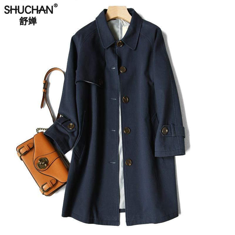 Shuchan Wide-waisted Cotton   Trench   Coat New Womens Spring Coats Women Runway Fashion 2019 Women's Windbreaker F-71