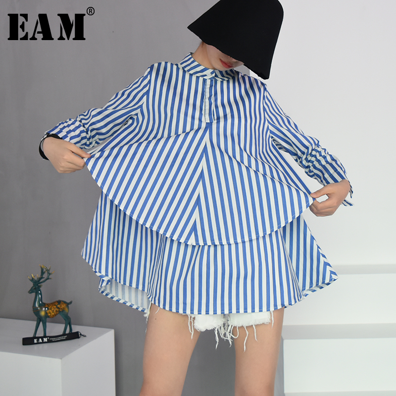 [EAM] 2020 Spring Autumn  New Fashion Stand Collar Long Sleeve Blue Striped Loose Big Size Double-deck Shirt Women Blouse YC203