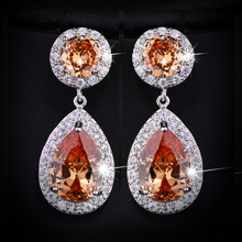 Beautiful and Good Quality Big Purple AAA+ Cubic Zirconia Crystal Long Drop Earrings For Women Wedding Party CZ016