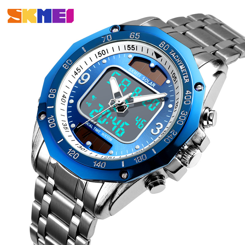 Solar Men Military Sport Watches Men's Digital Quartz Clock Full Steel Waterproof Wrist Watch Relojes Hombre 2019 SKMEI