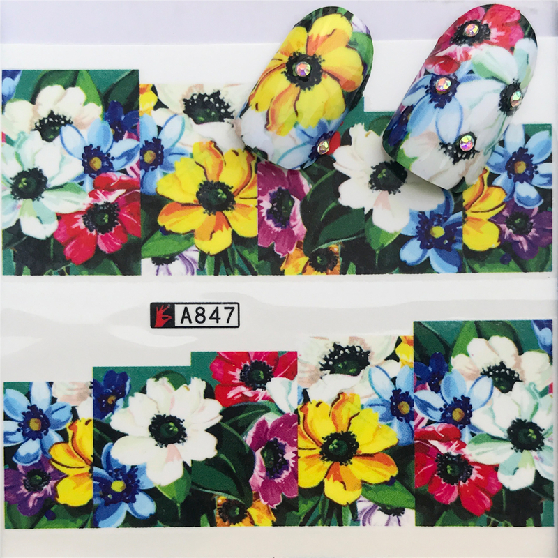 1sheets New Cheap Flower Mix Colors Charm Nail Art Water Transfer Sticker For Nails Tips Decorations Manicure Tools