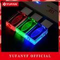 YUFANYF 2017 pendrive 3 colores Rojo/azul/verde LED Ford INSIGNIA del coche del USB falsh unidad 4 GB 8 GB 16 GB 32 GB U Disco de cristal regalo