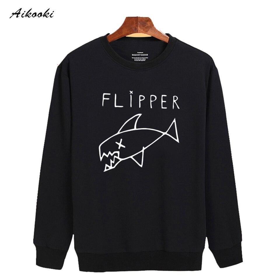Cartoon Flipper Fish new hoodies men brand designer mens sweatshirt men in 3xl harajuku sweatshirt autumn Black/gray XXS
