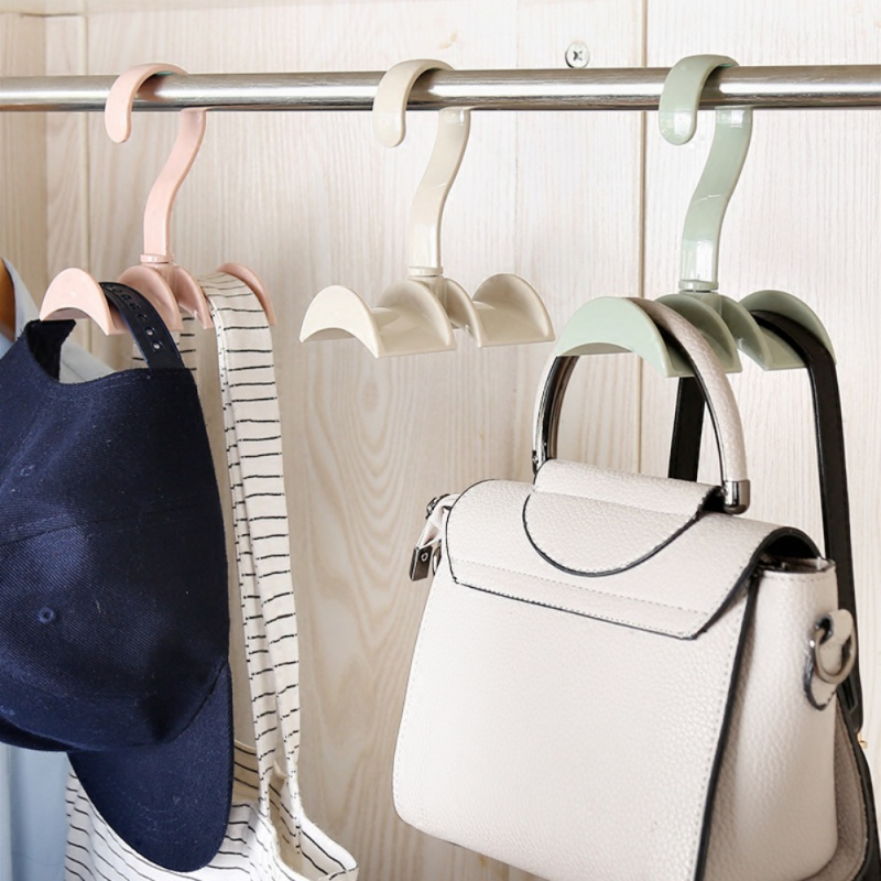 Bathroom Hardware Steady 360-degree Rotation Closet Organizer Rod Hanger Handbag Storage Purse Hanging Rack Holder Hook Bag Clothing Hanger