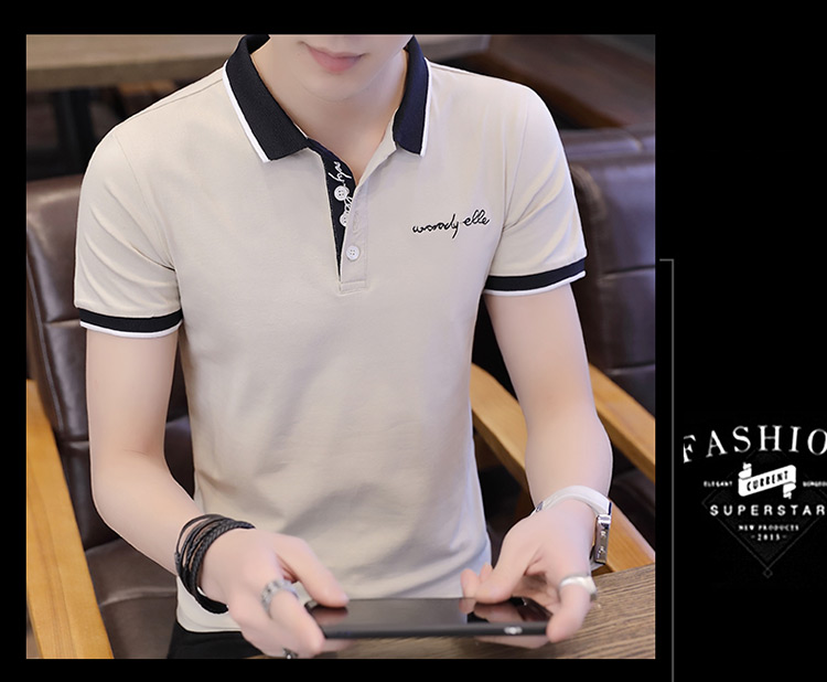 2019 men splicing t-shirts with short sleeves Comfortable in summer youth leisure lapel t-shirts 28