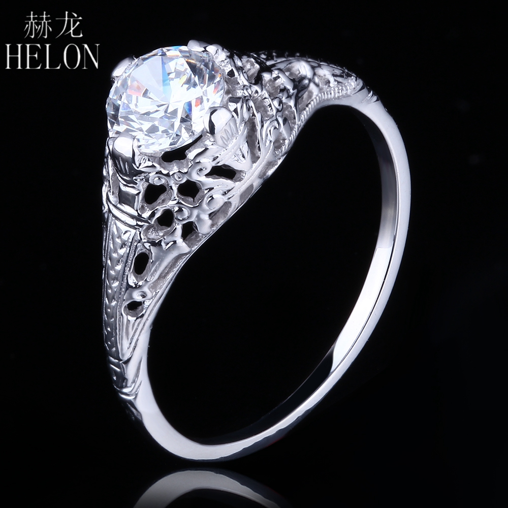 HELON Vintage Antique Wedding Jewelry Solid 10K White Gold Round Cut 5.5mm 0.6ct Moissanites Diamond Engagement Women Fine Ring aeaw lab grown diamond moissanites engagement bangle solid 10k white gold bracelets for women wedding fine jewelry