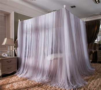 Romantic Princess red gray green blue Lace Canopy Mosquito Net Contain Frame for Twin Full Queen King Bed