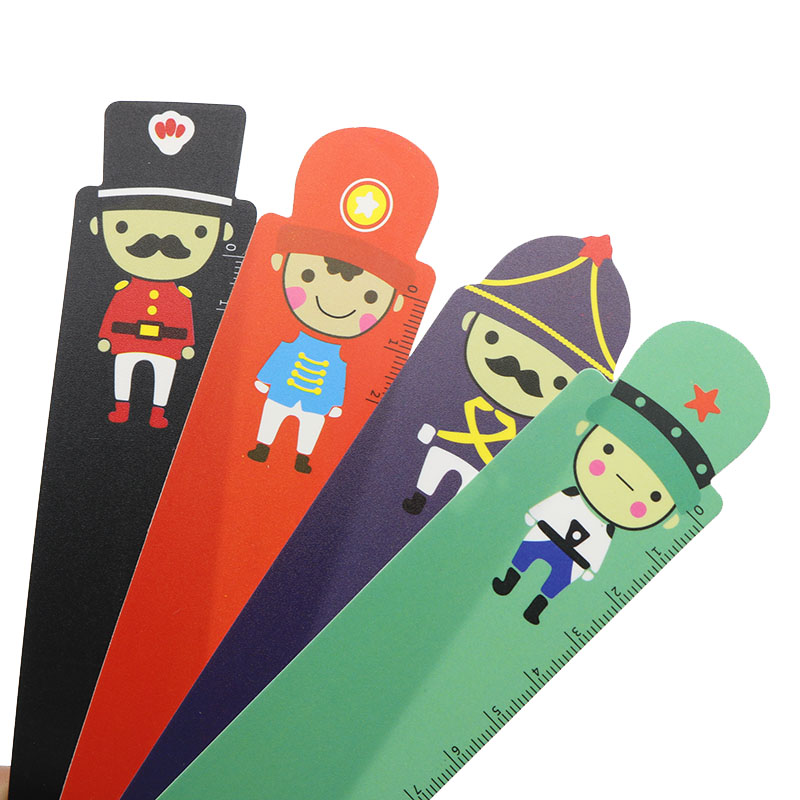 5pcs Children Stationery Cute Cartoon Creative Big Soldier Series Soldier Ruler Bookmark UK Student Ruler Length 15cm