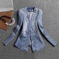 Calças de brim Mulheres Jaqueta Longo Fino Jaqueta Jeans Denim Beading 2016 Primavera E No Outono Casaco Casacos de Senhora Elegante Do Vintage A2754