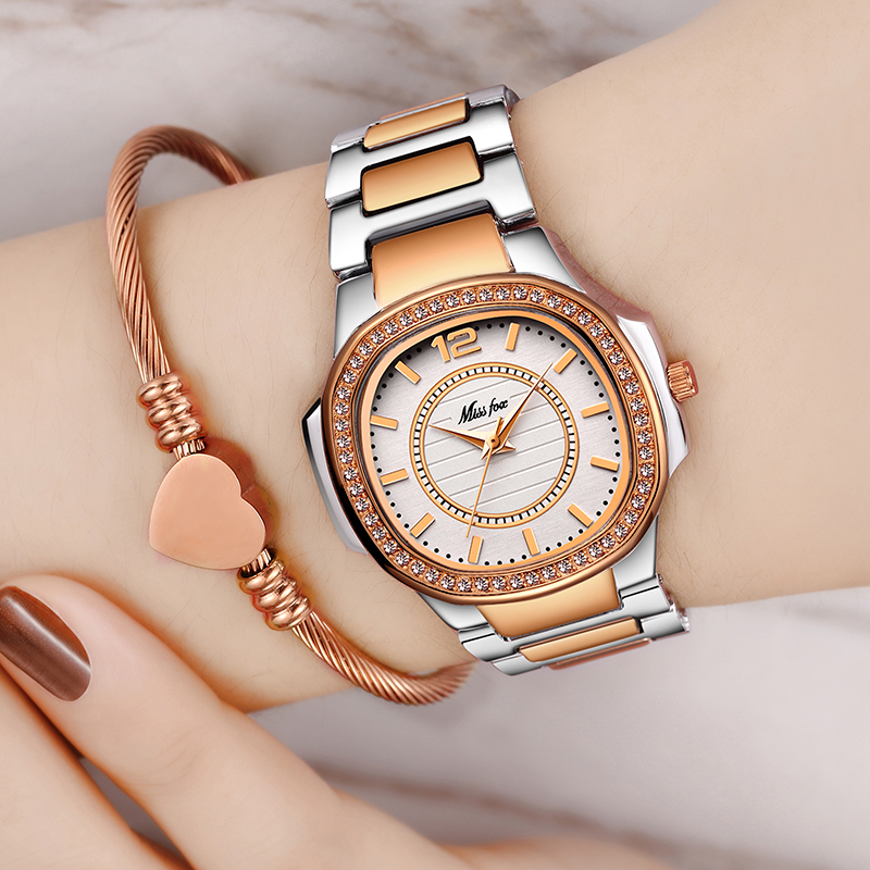 MISSFOX Best-seller Relógio Waches Mulheres Xfcs Uhr Ouro Rosa Moda Casual Senhoras Relógio de Pulso Dropshipping 2019 Quartz Relógio de Pulso