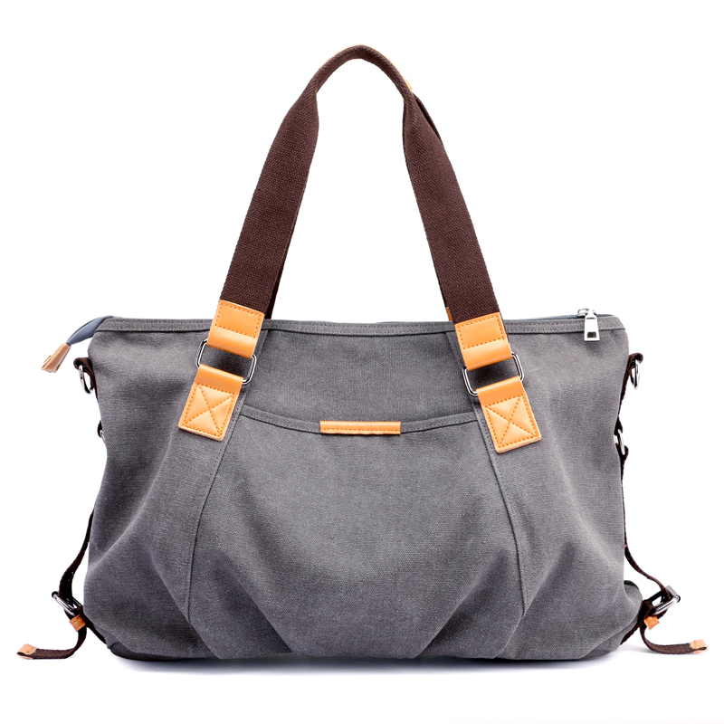 Big Canvas Shoulder Bag Brand High Quality Contracted Joker Handbag Womens Fashion 100% Cotton Leisure Bag Pure Color Totes