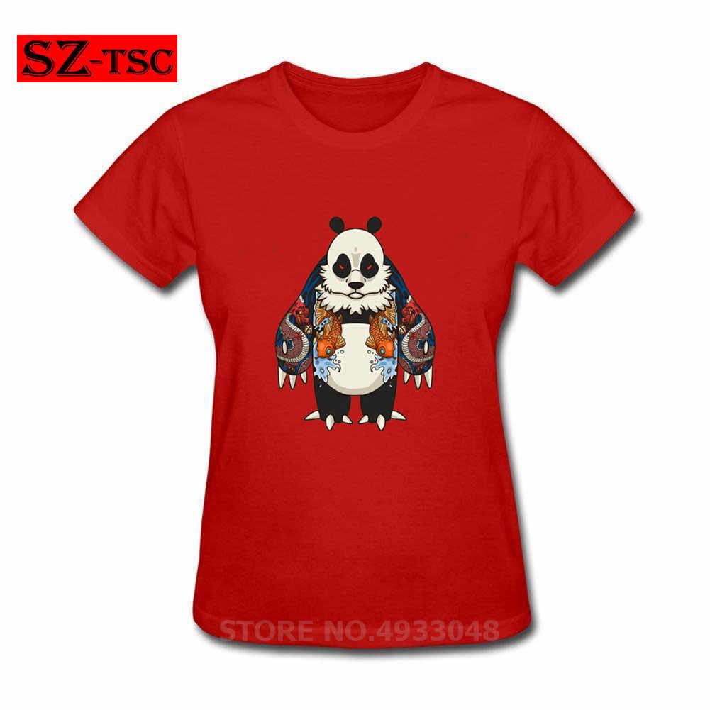 Koi Fische T-shirt Yakuza Panda mit Japanischen Koi fisch tätowierte T Hemd Frauen Tshirt Niedlichen Tier Stil Kleidung Lustige Tops tees