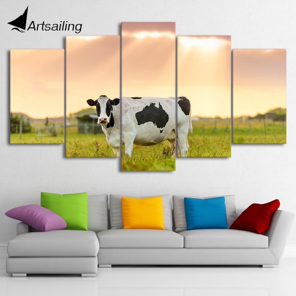 ArtSailing 5 panel canvas wall art Milk Cow farm sunset animal ...