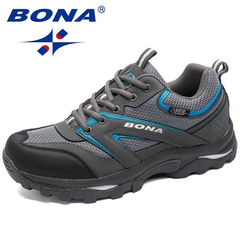 Spor ve Eğlence'ten Dağ Yürüyüşü Ayak.'de BONA Yeni Klasik Tarzı Erkekler yürüyüş ayakkabıları Açık Yürüyüş Koşu Sneakers Lace Up spor ayakkabı Rahat  Hızlı Ücretsiz Kargo title=