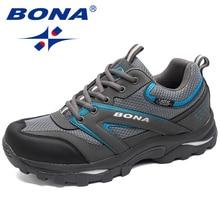 BONA החדש קלאסיקות סגנון גברים טיולים רגליים חיצוני נעלי הליכה ריצה סניקרס תחרה עד נעלי נוחות נעלי ספורט משלוח חינם מהיר